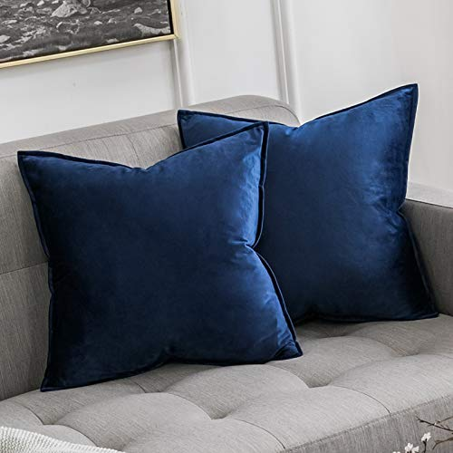 MIULEE Pack of 2 Velvet Soft Decorative Square Throw Pillow Case Flanges Cushion Covers Pillowcases for Livingroom Sofa Bedroom with Invisible Zipper 60 x 60 cm 24x24 Inch Set of 2 Dark Blue