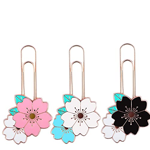 IUASZZ 3 Pieces Cherry Blossom Paper Clips, Cute Colorful Sakura Paperclip Elegant Flower Design Bookmark for Students Marking Notebook, Books and Scrapbooks, 2.5×1.3in (Blue, Black & Pink)