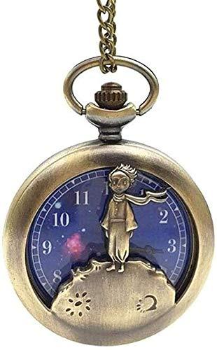 NC96 Vintage Clásico Planeta Azul Bronce El Principito Reloj de Bolsillo Collar Colgante para Cuarzo Hombres Mujeres Niños Mejores Regalos