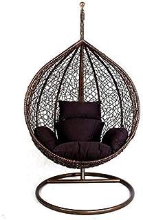 كرسي ارجوحة راتان مع وسادات الياف، 25 كجم، 100 × 210 × 105 سم- كوفي داكن