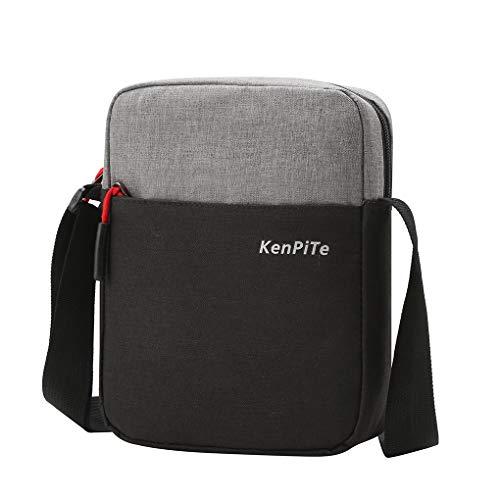 Chunyang Messenger Bag Nylon wasserdichte Umhängetasche Zipper-Beutel-justierbarer Reißverschluss Außen Umhängetasche Handtasche, Schwarz
