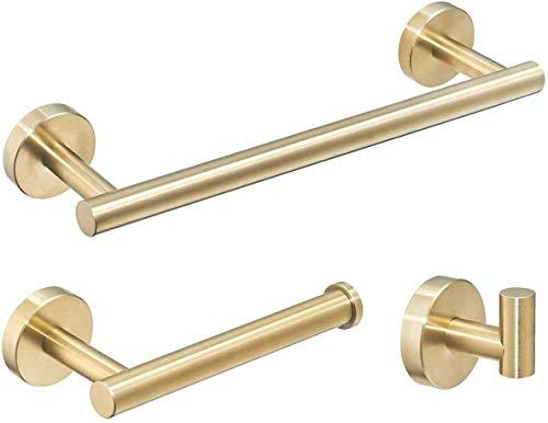 Juego de 3 piezas de accesorios de baño inoxidable para montaje en pared,barra de toalla 12 pulgadas+soporte de papel higiénico+gancho para albornoz,kit resistente de construcción de ducha(dorado)