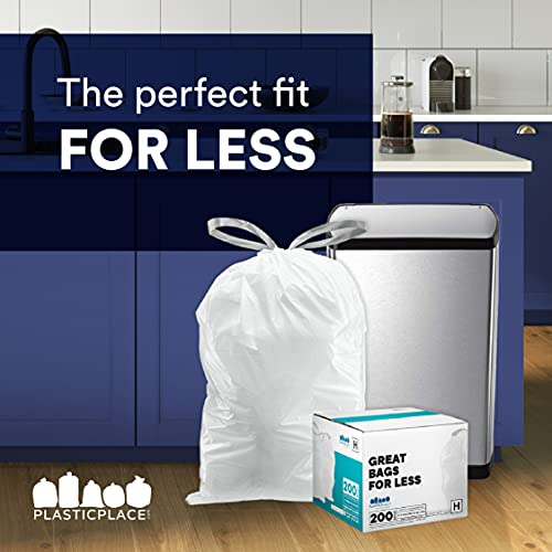 Plasticplace Custom Fit Trash Bags │ simplehuman (x) Code K Compatible (50 Count) │ White Drawstring Garbage Liners 10 Gallon / 38 Liter │ 24.4