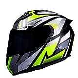 Casco de motocicleta de cara completa, aprobado por DOT/ECE, ciclomotor de motocicleta, casco de choque de carreras callejeras con gráficos adecuados para hombres y mujeres F,XL61-62CM