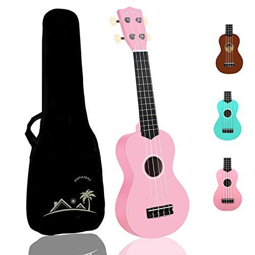 POMAIKAI Soprano Kids Ukulele for Beginner Girls 21 Inch Hawaii Kid Guitar Starter Ukelele Wood Uke Rainbow Uke with Gig Bag (Pink)