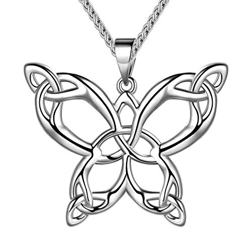 beautlace Butterfly Necklaces Celtic Knot Pendant Silver Plated Animals Necklace Jewelry Gifts for Men and Women KP0062W