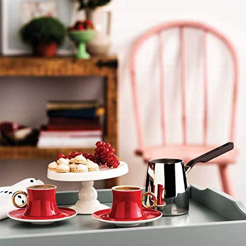 Korkmaz Mokkatassen Set 12tlg. | Rot mit Goldverzierung | Espressotassen | Kahve Fincan Takimi