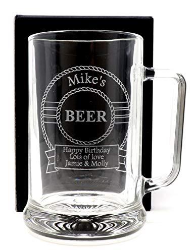 Engraved/Personalised *Beer Design* Pint Glass Tankard (Cardboard Gift Box)