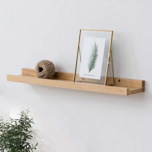INMAN HOME 16 Inch Rustic Solid Oak Timber Block Floating Shelf Wall, Concealed Bracket, Wall Mounted Shelf, Decorative Hanging Storage Organiser, Book Case, Storage, Picture Ledge, Shelf