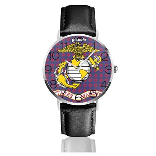 Armbanduhr Uhr Classic Casual Quartz Flag von USMC und Donuts Red Black Leather Armbanduhr