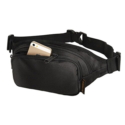 Pochette étanche avec fermeture éclair poches Fanny Pack taille sac pour randonnée/sport – Noir