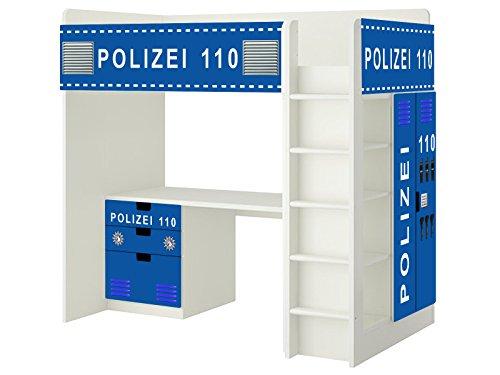 Polizei Aufkleber - SH10 - passend für die Kinderzimmer Hochbett-Kombination STUVA von IKEA - Bestehend aus Hochbett, Kommode (3 Fächer), Kleiderschrank und Schreibtisch - Möbel Nicht Inklusive | STIKKIPIX