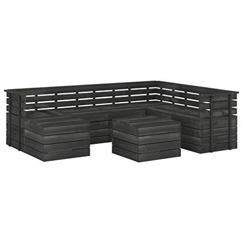 vidaXL - Paleta de jardín de madera de pino maciza, 8 piezas, muebles de exterior, muebles de terraza, muebles de jardín, muebles de patio, color gris oscuro