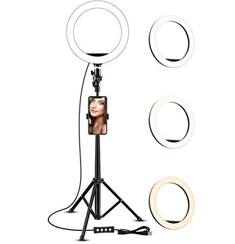 XIYUN 10' LED Ring Light Tripod Stand LED Camera Light with Cell Phone Holder Desktop LED Lamp with 3 Light Mode & 10 Brightness Level
