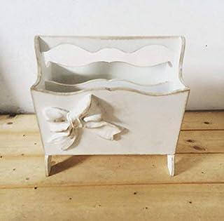 Portariviste in legno decorato a mano con fiocco, bianco