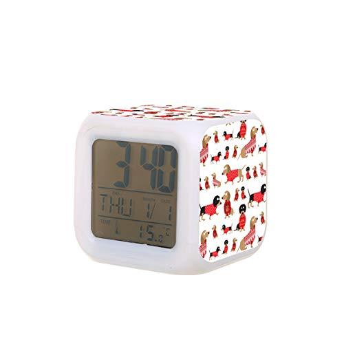Dachshund Dog Animal Electric Alarm Clock Night Light Nap Timer Sleep Sound...