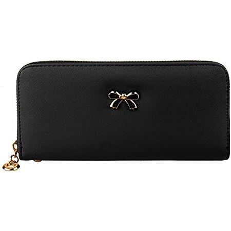 SUMAJU Womens Wallet Clutch Bowknot Leather Wallets Card Holder Case Long Ladies Purse Wallet for Women Black