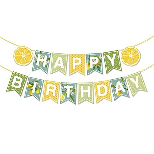 WANGJINGHUA Party DIY. Dekorationen Alles Gute zum Geburtstag Banner Frische Gelbe Party Dekorationen Wand Hängende Bunting Dekorationen (Color : BA220)