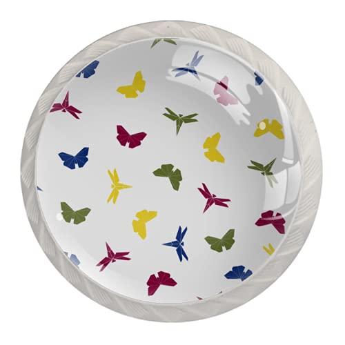 Manijas para cajones Perillas para gabinetes Perillas Redondas Paquete de 4 para armario, cajón, cómoda, cómoda, etc., Origami Insectos Voladores Mariposa Resumen