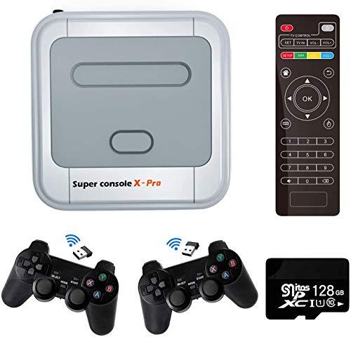 Console de jeu vidéo Super Console X PRO Console de jeu rétro avec 128 cartes intégrées 41000+ jeux, consoles de jeu classiques pour sortie HDMI TV 4K, prise en charge NES/N64/PS1/PSP, WiFi/ LAN