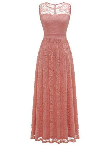 WedTrend Damen Spitzen Lange Brautjungfer Kleid Abendkleid Party Ärmellos Cocktailkleid EWTL10007B-BlushS