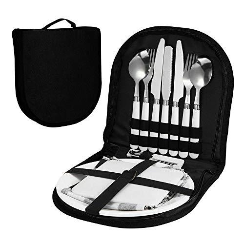 Tragbare Silberbesteck Picknick Tasche, Teller Löffel Weinöffner Gabel Serviette, Edelstahl Outdoor Travel Picknick Geschirr Set (Black)