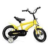 Kaibrite Bicicleta infantil de 14 pulgadas, 4 colores, marco de acero al carbono, altura ajustable, con rueda auxiliar (amarillo)