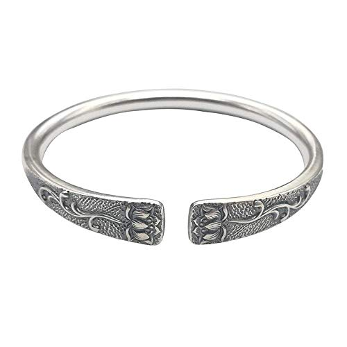YBB-YB LXX-LX S925 Ladies Vintage Silver Bracelet Open Relief 3D Lotus Creative Carving Temperament Personality Gift Chinese Classic