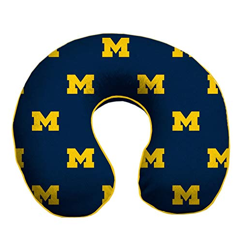 Pegasus Sports Michigan Wolverines Travel Relaxation Memory Foam Neck Pillow Premium Memory Foam Melds to Your Neck. It has a Removable, Washable Very Soft Yet Durable Microplush Cover.