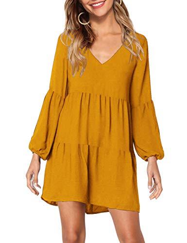 KOJOOIN Tunika Kleid Boho Bohemian Kleid Vintage Kleid Lose Casual Swing Kleid mit Gerafft Schmeichelhaft Gelb-langarm XL