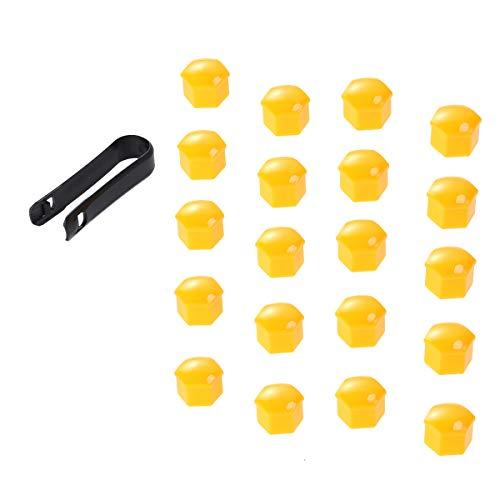 VOSAREA 21 en 1 Boulon écrou de Roue Capuchons Protection Hexagonal pour écrous de Roue Universel Cache Vis écrou de Protection avec Pince Jaune 17mm