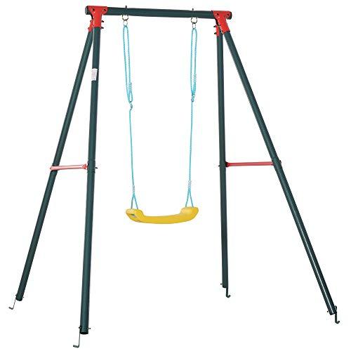 Outsunny Altalena da Giardino per Bambini 6-12 Anni con Altezza Regolabile, in Metallo e PE, 155x160x180cm, Multicolore