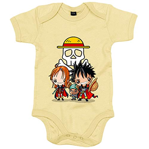 Body bebé Chibi Kawaii Crossover One Piece Capitan Harlock parodia - Amarillo, 12-18 meses