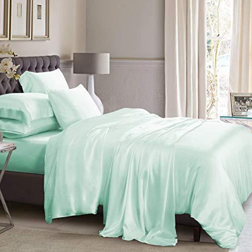 Reliable Bedding 100% Pure Silk Satin Sheet Set 7pcs, Silk Fitted Sheet 15'' Deep Pocket,Silk Flat Sheet,Silk Duvet Cover & Pillowcases Set !!! Aqua Blue/Queen