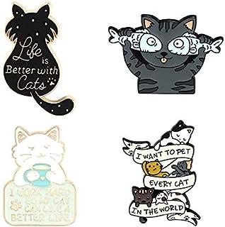 La vida es mejor con gatos Pin esmaltado personalizado gato pescado café broches camisa bolsa de solapa lindo animal insig...