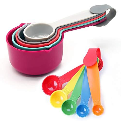 Starchef - Lot de 10 tasses à mesurer colorées - Ustensiles de cuisine, gadgets, cuillères à café, cuillères à soupe (10 couleurs aléatoires)