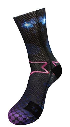 Party Style Socken mit Eigenem Handgefertigte Motiv Design 3D Druck Socken für Basketball Fitness Volleyball Tennis Golf Handball Radfahren Atmungsaktiv Coolmax Sportsocken für Höhe Leistung (43-46)