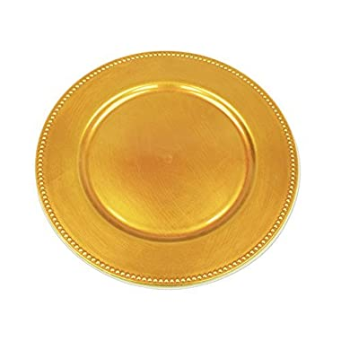 24 pcs 13  Gold Beaded Round Charger Plates