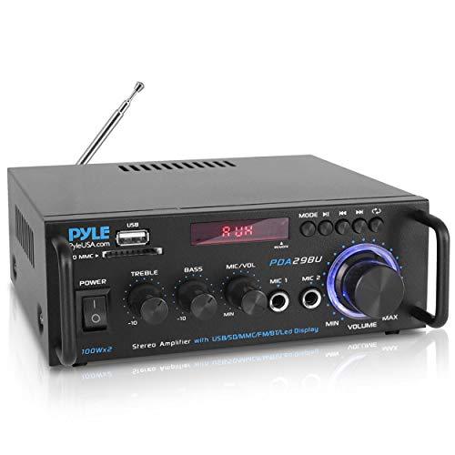 Pyle PDA29BU - Amplificador de Potencia estéreo de Audio de Doble Canal de 200 W con RCA, USB, SD, Mic IN, Radio FM, para Entretenimiento de Cine en casa a través de RCA, Uso de Estudio