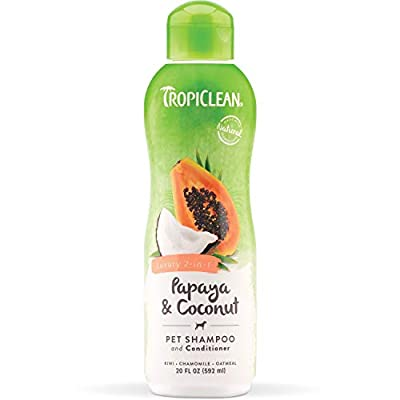 TropiClean Papaya & Coconut Luxury 2-in-1 Shampoo and Conditioner for Pets, 20oz - Made in USA