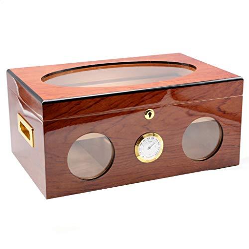 LinLiXJH Zigarren Humidor Zigarrenluftbefeuchter Zigarrenbox Cedar Holz Humidor 120 Stöcke Hygrometer Zigarrenschrank, bemalte Zigarrenkiste Geschenkbox für Herren (Color : Light Brown)