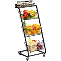 Warmfill HT02 4-Tier Rolling Cart Wire Basket Stand with Wheels
