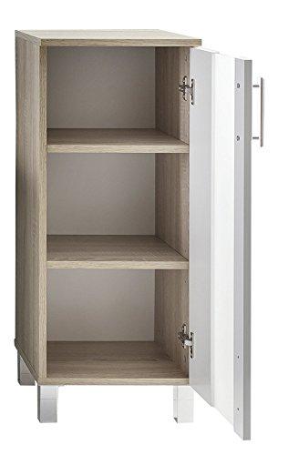trendteam Cuarto de baño Armario Cómoda Porto, 33 x 80 x 31 cm, cuerpo acabado roble claro cepillado, frente blanco con…