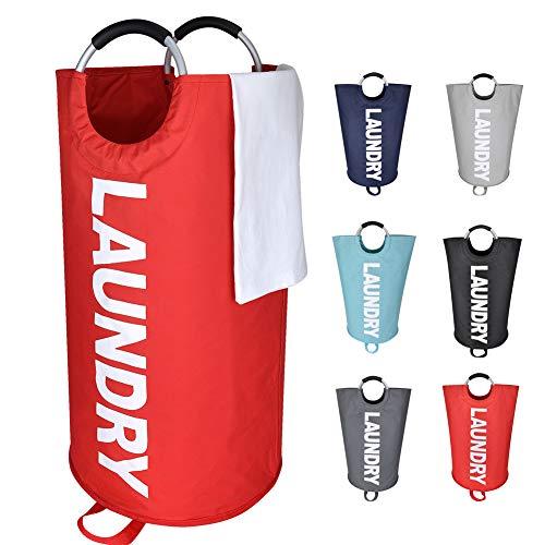Eono Amazon Brand 82L Großen Faltbare Wäschekörbe mit münze Tasche, Zusammenklappbaren Wäschesäcke, Kleider Tasche (Rot, L) EINWEG