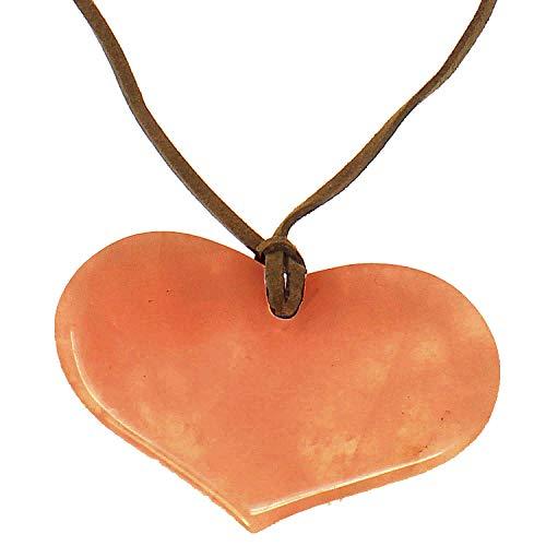 Colgante de corazón de ágata naranja semipreciosa en un collar largo de ante con aspecto de lagenlook que hace que cualquier longitud haga un nudo