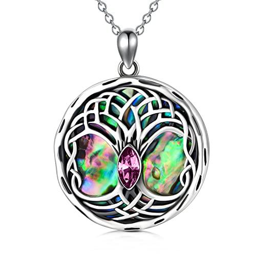 Collar celta de plata de ley con diseño de árbol de la vida para mujer, joya celta, regalo de cumpleaños para ella, novia, madre, Cristales., Crystal,