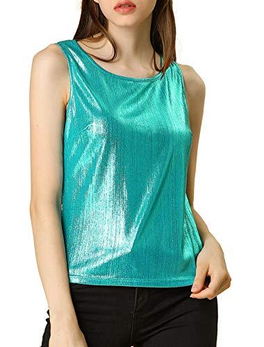 Allegra K Camiseta Sin Mangas Metálica Cuello U Elástico Ajustado Blusa Brillante...