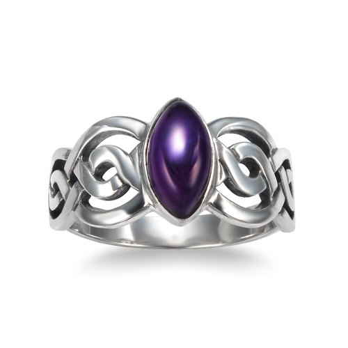925 Sterling Silver Genuine Amethyst Stone Celtic Double Infinity Knot Ring - Nickel Free Size 9