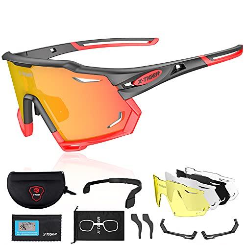 X-TIGER Gafas de Ciclismo Polarizadas con 5 Lentes Intercambiables Montura TR90 Gafas de Bicicleta , Moto MTB Bicicleta Carrera de béisbol, Escalada Deportes al aire libre Gafas