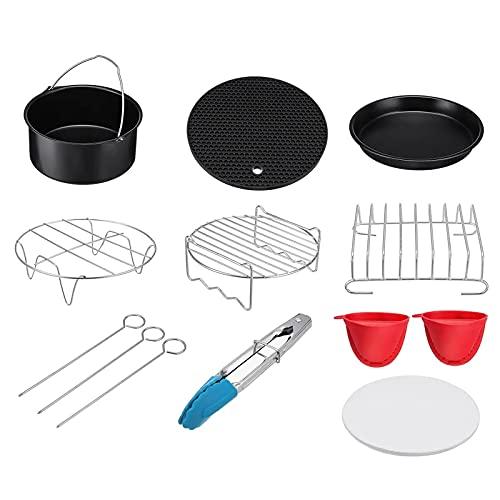 Accesorios para Freidora de Aire 9 En 1 Set Air Fryer Accessories Cocina Fryer Pizza Pan Pan Shell SHIRY Pan Pan para Cocina Casera (Color : Black, Size : 9 Pcs)